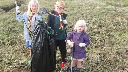 Willing young hands clear litter from the Orwell foreshore at Trimley during the Great British Beach