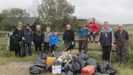 Great British Beach Clean volunteers with some of the rubbish they collected from beside the River O