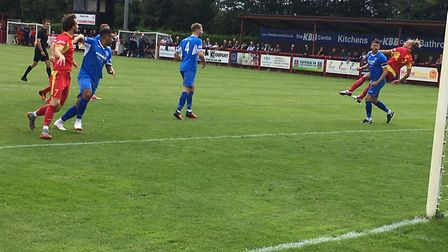 Needham Market on the attack during the early stages of today's Suffolk derby against Leiston. Pictu