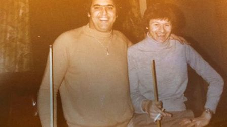 Bob with snooker played Alex Higgins Picture: SHELLEY FAMILY