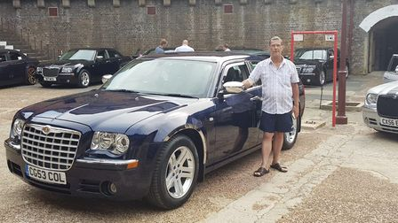 Collin Grimwood with his beloved Chrysler 300C Picture: SHARON BRADLEY