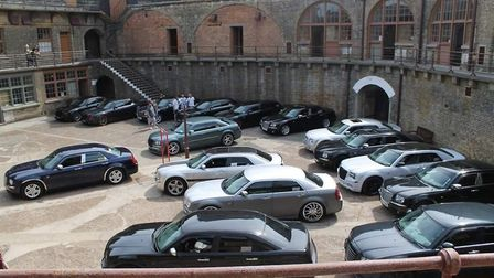 The luxury cars gathered in Languard Fort in Felixstowe Picture: SHARON BRADLEY
