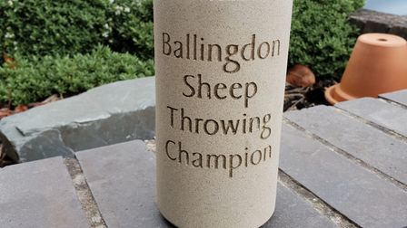The sheep throwing trophy, which will be presented to a lucky winner at the Ballingdon Fete Picture: