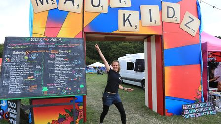 Kat, coordinator at the entrance to the kidz area at the Maui Waui festival Picture: JERRY TYE