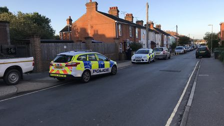 Police cars at the scene of the stabbing on Cromer Road Picture: AMY GIBBONS