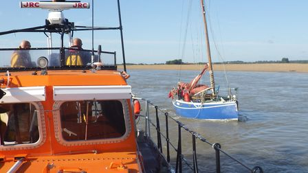 The Aldeburgh RNLI's all-weather lifeboat Freddie Cooper rescues a vessel in difficulty Picture: RNL