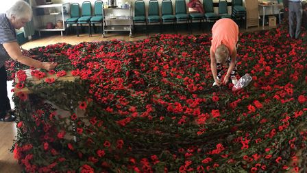 The display of poppies at Sudbury Town Hall Picture: SUDBURY TOWN COUNCIL