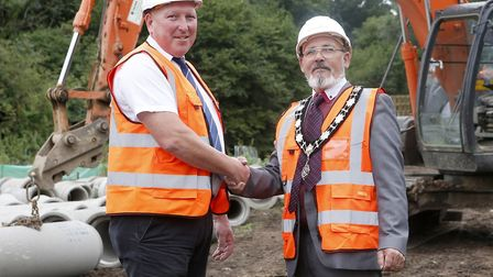 Hadleigh mayor Peter Matthews with site manager Martin Farley Picture: McCARTHY AND STONE