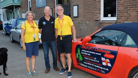 Belinda and James Richardson, pictured in yellow,with Aldeburgh RNLI coxswain Steve 'Tag' Saint Pict