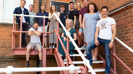 The cast of Once gathered outside The New Wolsey's rehearsal space. Picture: MIKE KWASNIAK
