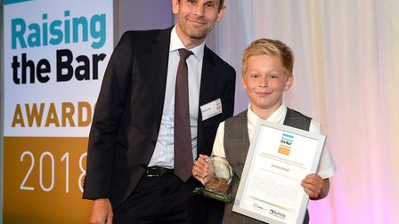 Jamie Small, pictured at the Raising the Bar awards with Archant Suffolk editor Brad Jones will be I