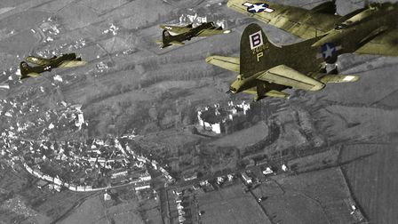 The cover image of A Suffolk Town in Wartime Framlingham 1939 to 1945, which shows planes flying ove