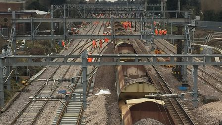 Network Rail engineers working on the Great Eastern Mainline (stock image) Picture: NETWORK RAIL