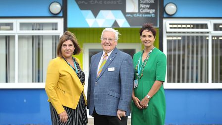 Viv Gillespie, Roger Fern and Julie Patel at the launch of Suffolk New College on the Coast in Leist