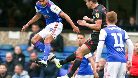 Kayden Jackson led the line for Ipswich in their goalless home draw with Bolton. Photo: Steve Waller