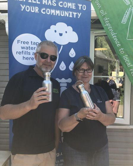 Jason Alexander and Sharon Wolff, co-owner of The Tea Hut in Woodbridge Picture: RUBBISHWALKS.CO.UK