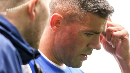 Jonathan Walters leaves the pitch after surfing a calf injury. Picture: STEVE WALLER WWW.STEP
