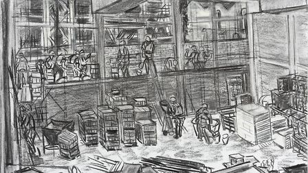 Charcoal drawings by Suffolk artist Valerie Irwin of the construction of the new Ipswich Waterfront