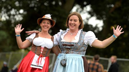 Lisa Morley and Jenny Jones enjoying the the Bavarian celebrations Picture: SARAH LUCY BROWN