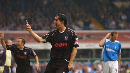 Alan Lee celebrates scoring the first goal at Birmingham in the 2-2 draw at St Andrews in September