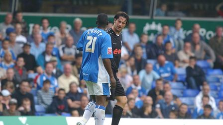 Birmingham's Bruno NGotty was shown a straight red card after kicking out at Ipswich Town forward Al