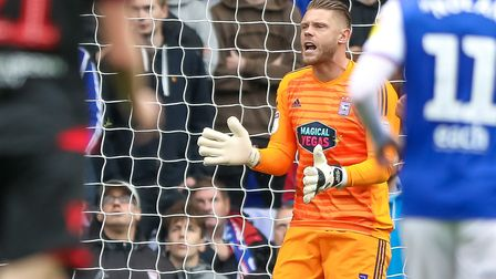 Dean Gerken is set to make his 100th appearance for Ipswich Town. Photo: Steve Waller