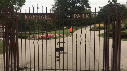 The gates of Raphael Park, at the southern entrance. Picture: CARL MARSTON