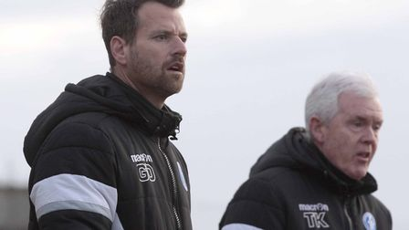 Leiston boss Glen Driver, left, and assistant Tony Kinsella, hoping to get their team back on track