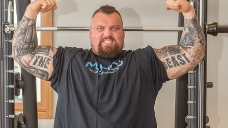 Eddie Hall (worlds Strongest Man) at the University of Suffolk sports science laboratory Photo: PAVE