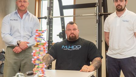Eddie Hall (worlds Strongest Man) with James Brown and Chris Collins from MUDHO (DNA sports analysis