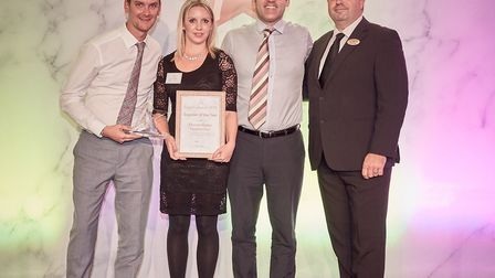 Thomas Ridley Foodservice Receives Supplier of the Year 2018. L-R Steve Leary, Rebecca Pike and S