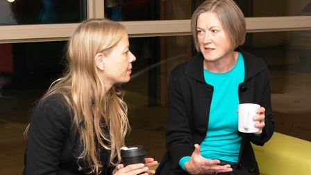Sian Berry (left) with Green party parliamentary candidate Helen Geake in Stowmarket. Picture: WEND