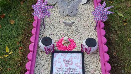 Rose and Liam made Ava a temporary gravestone themselves on her first birthday Picture: ROSE GODDARD