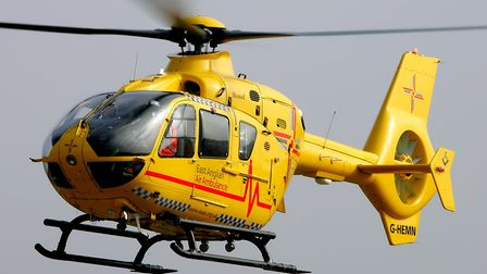 The East Anglian Air Ambulance attended the crash Picture: SIMON PARKER