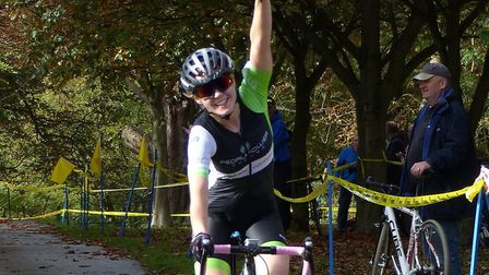 Gemma Melton wins the Women's Race at the Eastern League cyclo-cross event near Hitchin. Picture: FE
