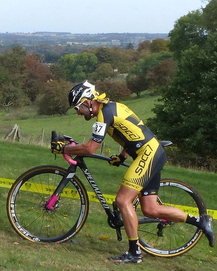 Stowmarket's Adrian Healey was second in the Vets 50+ at the Hitchin cyclo-cross. Picture: FERGUS MU