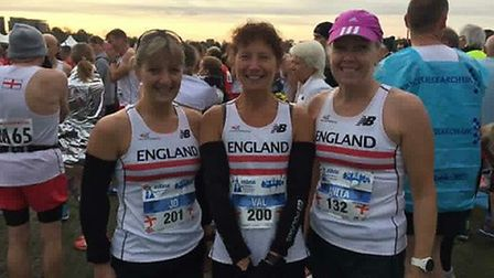 The Suffolk trio of, from left, Jo Stephenson, Val Jennings and Anita Bond, who represented England