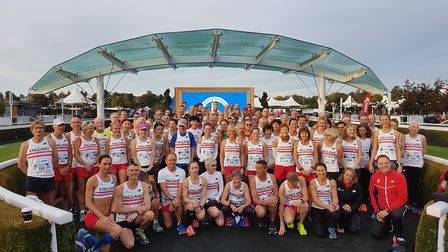 The England Masters marathon team who represented their country at the British Masters Marathon Cham