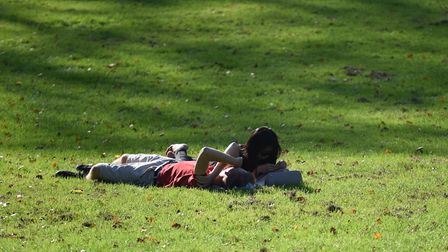 People enjoy the sunshine on one of the hottest days in October for years Picture: SARAH LUCY BROWN