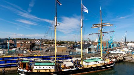 Tall ship SWAENSBORGH in the lock at Ipswich, on 11-October-2018.Picture: Stephen Wallerwww.steph
