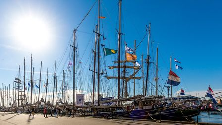 Race of the Classics tall ships moored in Ipswich, on 11-October-2018.Picture: Stephen Wallerwww.