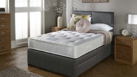 The Myers Langford Ortho Deluxe 150cm, two-drawer divan and buttons headboard worth �1,208. Photo fo