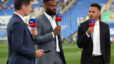 Darren Bent (centre) has been working as a pundit for Sky Sports. He's pictured here alongside prese