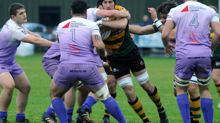 Will Scholes, powering forward against Clifton, will be in the second row for Bur St Edmunds at Old