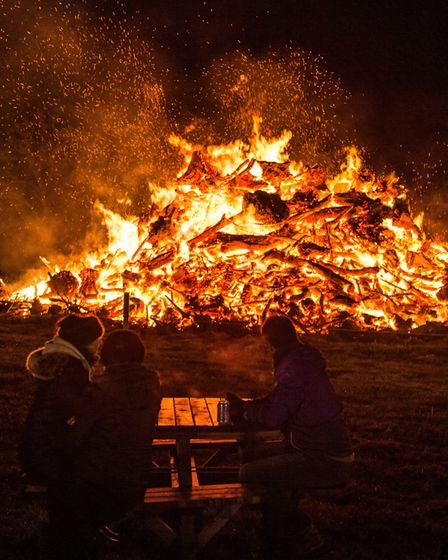 The bonfire at Heveningham Hall Fireworks Picture: ALEXANDER PARNELL