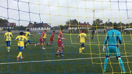 Action from last Saturday's FA Cup third qualifying round tie at Coles Park. AFC Sudbury are in the