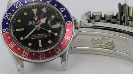 This Rolex watch, distinctive for its red and blue bezzle, was sold for £18,000. Picture: LOCKDALES
