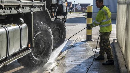The vehicles underwent a deep clean before setting off Picture: COLCHESTER GARRISON