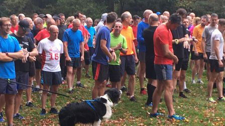 Runners, walkers and canine companions congregate before the start of last Saturday's Bury St Edmund