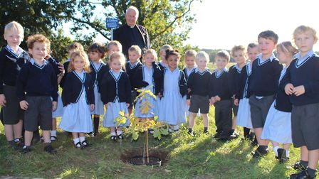 The new reception class at Culford School plant a tree to mark the start of their educational journe